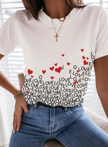 Women's T-shirts Letter Heart-shaped Short Sleeve Round Neck Casual T-shirt