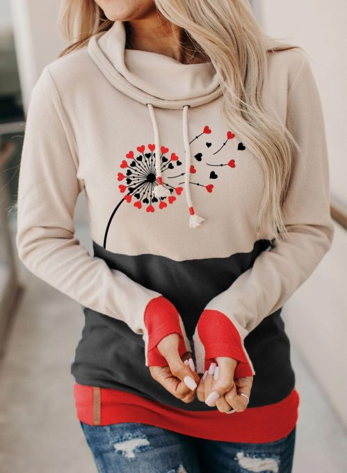 Women's Pullovers Color Block Dandelion Long Sleeve Turtleneck Daily Pullover