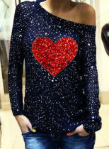 Women's Pullovers Casual Sequin Off Shoulder Heart-shaped Color Block Long Sleeve Round Neck Party Pullovers