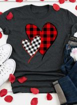 Women's T-shirts Casual Plaid Heart-shaped Solid Round Neck Short Sleeve Daily T-shirts