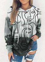 Women's Hoodies Abstract Portrait Color Block Long Sleeve Drawstring Casual Hoodie