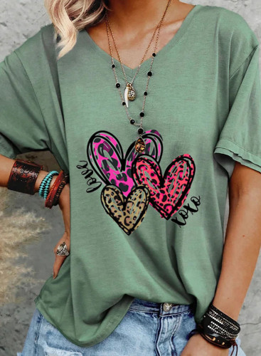 Women's T-shirts Casual Leopard Heart-shaped Solid V Neck Short Sleeve Daily T-shirts