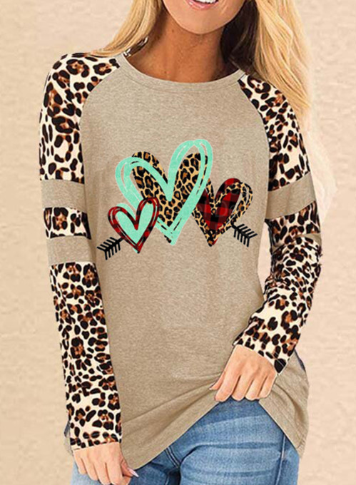 Women's Pullovers Solid Leopard Plaid Long Sleeve Round Neck Casual Pullover