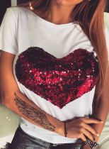 Women's T-shirts Color Block Heart-shaped Print Sequin Short Sleeve Round Neck Daily T-shirt