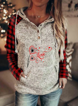 Women's Hoodies Winter Drawstring Long Sleeve Solid Plaid Button Casual Hoodies With Pockets