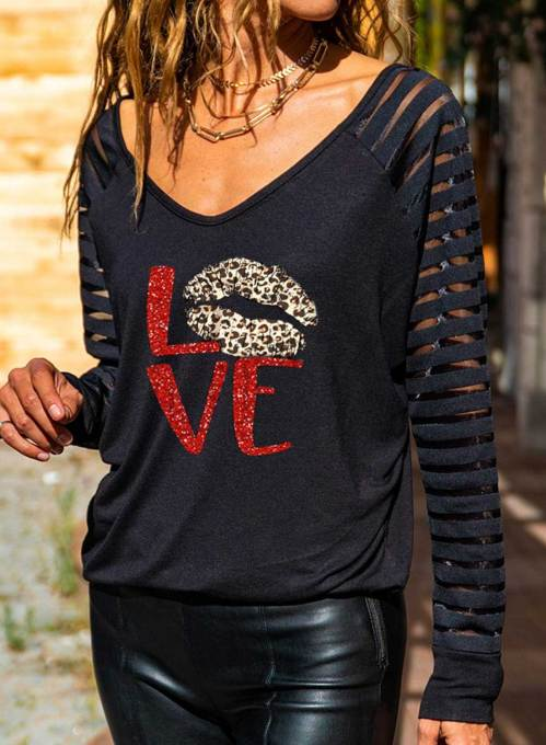 Women's T-shirts Leopard Letter Print Long Sleeve V Neck Daily T-shirt