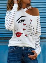Women's Pullovers Abstract Portrait Striped Long Sleeve Cold Shoulder Daily Pullover