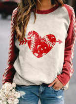 Women's Sweatshirts Color Block Heart-shaped Print Long Sleeve Round Neck Sweatshirt