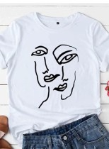 Women's T-shirts Abstract Portrait Print Short Sleeve Round Neck Daily T-shirt