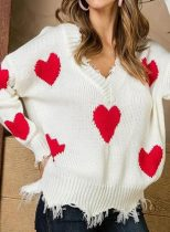 Women's Sweaters Heart-shaped Color Block Long Sleeve V Neck Tassels Sweater