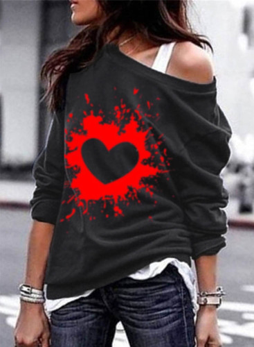 Women's Pullovers Casual Solid Off-shoulder Heart-shaped Round Neck Long Sleeve Daily Pullovers