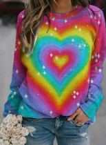 Women's Sweatshirts Color-block Heart-shaped Print Long Sleeve Round Neck Sweatshirt