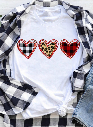 Women's T-shirts Leopard Plaid Color Block Letter Print Short Sleeve Round Neck Daily T-shirt