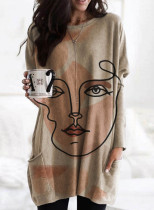 Women's Tunic Tops Casual Solid Abstract Round Neck Long Sleeve Daily Pocket Pullovers