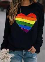 Women's Sweatshirts Rainbow Heart-shaped Striped Long Sleeve Round Neck Daily Sweatshirt