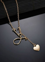 Women's Necklace Solid Heart-shaped Alloy Necklace
