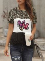 Women's T-shirts Leopard Heart-shaped Color Block Round Neck Short Sleeve Casual Daily T-shirts