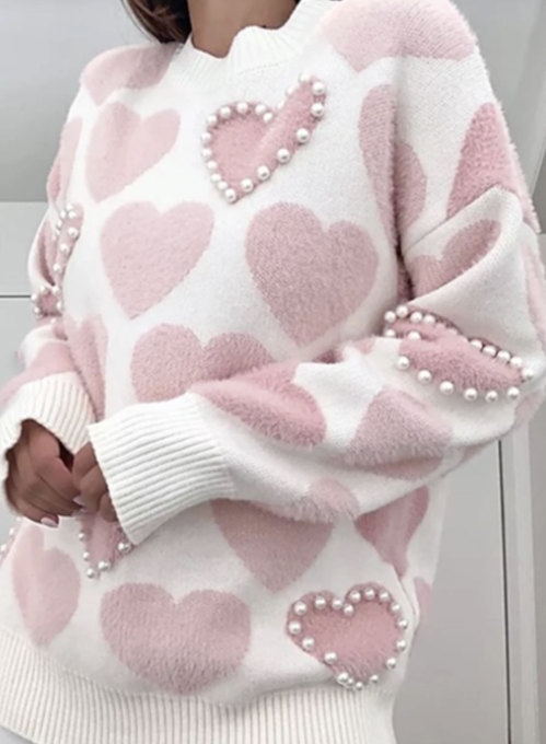 Women's Sweaters Color Block Heart-shaped Pearl Round Neck Long Sleeve Knitted Daily Date Sweater