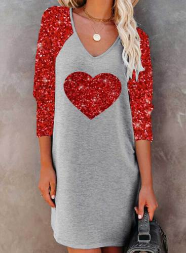 Women's Mini Dresses Heart-shaped V Neck Long Sleeve Shift Sequin Color-block Mini Dress