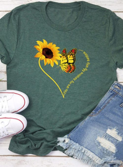 Women's T-shirts Sunflower Butterfly Print Short Sleeve Round Neck Casual T-shirt