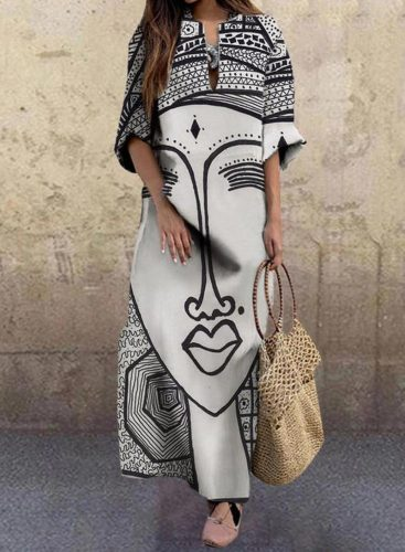 Women's Maxi Dresses Colorblock Abstract Portrait 3/4 Sleeve V Neck Daily Maxi Dress