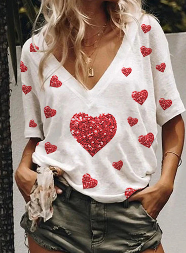Women's T-shirts Casual Summer Heart-shaped Sequin V Neck Short Sleeve Daily T-shirts