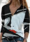 Women's Blouses Color-block Abstract Portrait Long Sleeve V Neck Casual Blouse