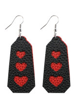 Women's Earrings Letter Heart Print Color Block PU Earrings
