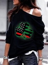 Women's Pullovers Casual Flag Solid Cold Shoulder Long Sleeve Daily Pullovers