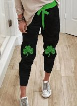 Women's Joggers Saint Patrick's Day Sequin Solid Straight High Waist Ankle-length Casual Joggers