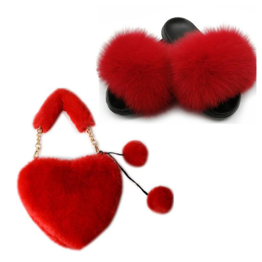 Ladies Fox Fur Slippers With HandBags Fur Sets