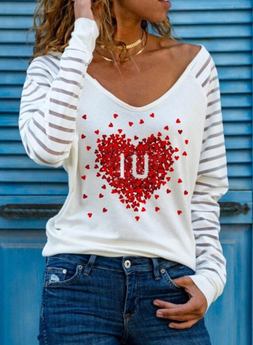 Women's Pullovers Casual Heart-shaped Striped Long Sleeve V Neck Daily Pullovers