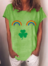 Women's T-shirts Rainbow Saint Patrick's Day Print Short Sleeve Round Neck Daily T-shirt