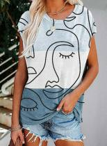 Women's T-shirts Abstract Portrait Short Sleeve Round Neck Daily T-shirt