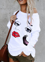 Women's Pullovers Abstract Portrait Long Sleeve Cold-shoulder Daily Tunic Pullover