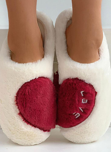 Women's Slippers Suede Plush Color Block Indoor Winter Slippers