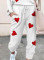 Women's Loungewear Sets Heart-shaped Color Block Round Neck Long Sleeve Slim Ankle-length Two Piece Sets