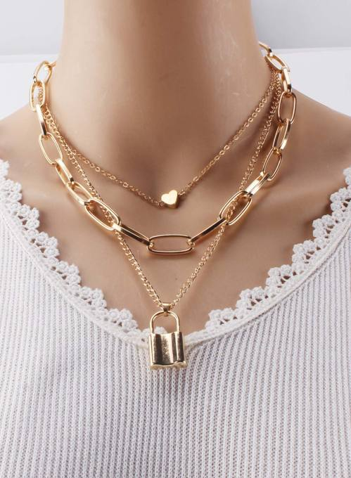 Women's Necklaces Multi-layer Lock Heart-shaped Necklace