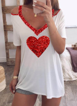 Women's T-shirts Casual Color Block Cold Shoulder Sequin Heart-shaped V Neck Short Sleeve Daily T-shirts