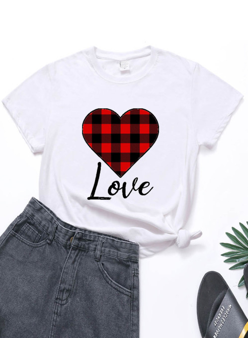 Women's T-shirts Plaid Color Block Heart-shaped Print Short Sleeve Round Neck Daily T-shirt