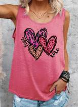 Women's Tank Tops Heart-shaped Solid Sleeveless Round Neck Casual Tops