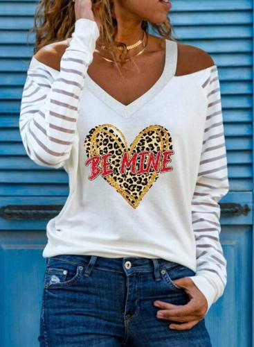 Women's Pullovers Letter Heart-shaped Long Sleeve V Neck Cold Shoulder Pullover