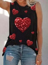 Women's Tank Tops Summer Casual Sequin Solid Heart-shaped Round Neck Tunic Tops