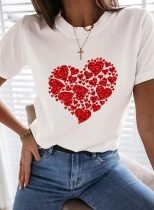 Women's T-shirts Heart-shaped Sequin Short Sleeve Round Neck Casual T-shirt