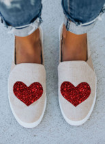 Women's Canvas Shoes Solid Cute Sequins Sporty Casual Daily Heart-shaped Print Canvas Shoes