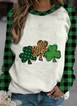 Women's Pullovers Casual Plaid Clover Color Block Round Neck Long Sleeve Daily Pullovers