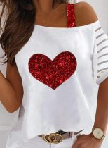 Women's Pullovers Striped Heart-shaped Sequin Short Sleeve One-shoulder Casual Pullover
