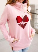 Women's Hoodies Drawstring Turtleneck Long Sleeve Solid Love-shaped Abstract Hoodies With Pockets