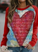 Women's Sweatshirts Color-block Heart-shaped Letter Print Long Sleeve Round Neck Casual Sweatshirt