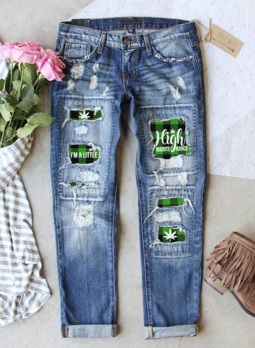 Women's Jeans Casual Plaid High Waist Slim Cut-out Ankle-length Jeans